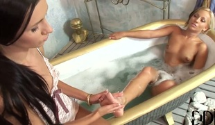 Blonde with small love bubbles and smooth twat takes Sasha Rose s fingers in her love aperture