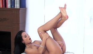 Lexi Dona is a brunette that's placing her fingers inside her pussy. The solo angel is making some loud moaning noises in the solo angel movie.