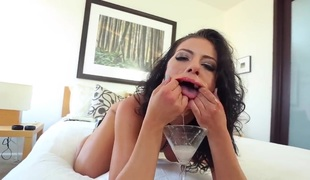 Adriana Chechik can't live without it when cum is dripping down her mouth. That babe is giving a oral-service in this scene and this babe is also drinking semen from a cup.