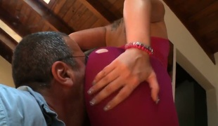 A lovely brunette with a giant ass is getting her backside worshiped. Dudes seem to be drawn to her sizable arse and they love sticking their tongues there.