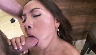 Brunette with juicy booty enjoys some vehement interracial sex