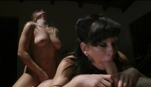 Marvelous babes getting their anals drilled doggystyle in a FFM three-some clip