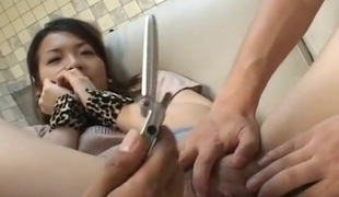 Leashed Japanese compliant enjoys vibrating fun