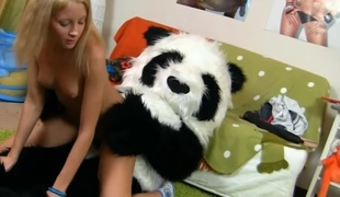 Panda and a marvelous legal age teenager have hot sex in her bedroom