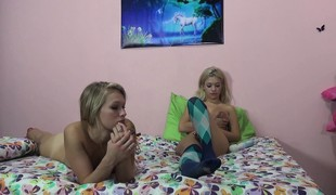 2 dazzling blondes express their excitement for hard meat and wild sex