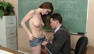 Hawt Teenager Undresses Off and Fucks Hard On Tutor's Desk