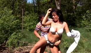 Busty german teen gets wild fucked by her boyfriend in the woods