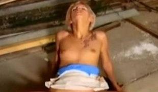 Shorthaired german blonde takes big cock