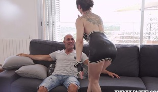 Tattooed granny Catalya Mia booty fucked by her horny fellow